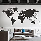 (US) MairGwall World Map Wall Decal The Whole World Wall Vinyl Art Sticker for Home and Office (Black, 50