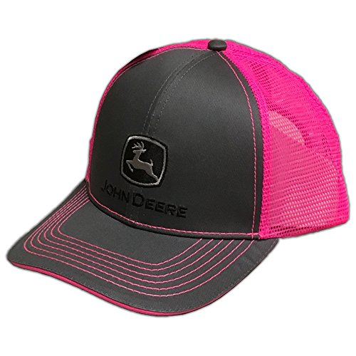 John Deere Grey with Neon Pink Mesh Snapback Hat - 23080418CH00