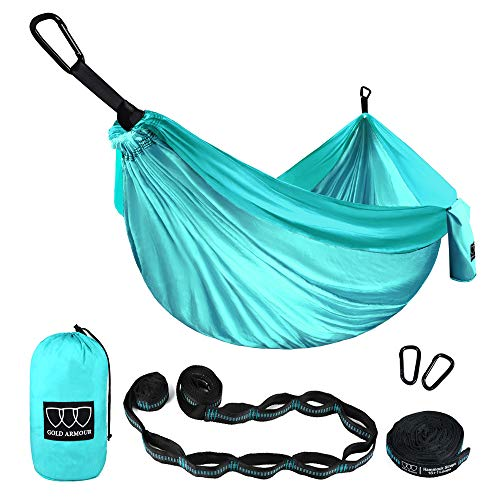 Gold Armour Camping Hammock - Extra Large Double Parachute Hammock (2 Tree Straps 16 Loops/10 ft Included) USA Brand Lightweight Portable Mens Womens Kids, Camping Accessories Gear (Seafoam/Seafoam) (Xl Super Loop)