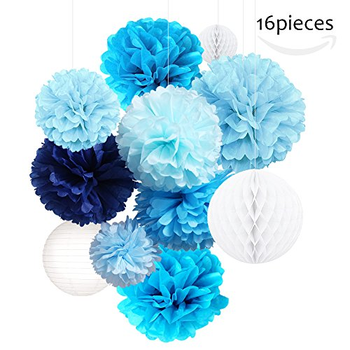 Tissue Paper Flower Pom Pom Kit-TP002(2017 New Design) Colorful,Pastel,Large Craft Paper for Custom Hanging Decoration,Gift,DIY Including 16 Pack Pom Pom,Paper Lantern,Honeycomb Ball(Blue style) Paper Lanterns Craft