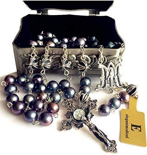 (elegantmedical Black Pearl Bali Sterling Silver Cross Beads Rosary Necklace Mans Womens)