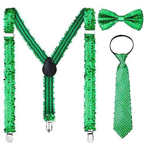 Whaline St. Patrick Costume Set Include Sequin Suspenders, Bowtie and Necktie, Adjustable X Back Elastic Suspenders St. Patrick's Day Party -