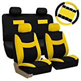 yellow and black car seat covers - FH GROUP FH-FB038114 Stylish Cloth Full Set Car Seat Covers Combo-FH2033 Steering Wheel & Seat Belt Pads, Yellow / Black- Fit Most Car, Truck, Suv, or Van