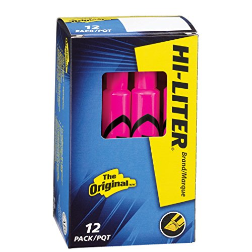 HI-LITER Desk Style, Fluorescent Pink, Box of 12 (24010) Avery Hi Liter Fluorescent
