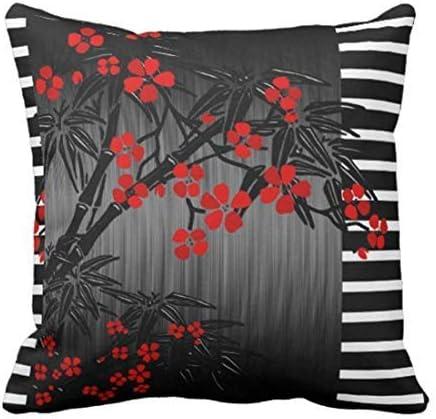Sofa Pillow White Couch Asian Black Red Bamboo Blossom Sofa Decorative Pillow Case Home Decor Square 45x45cm