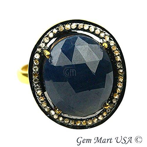 Sapphire & Diamond Pave Ring, Gold Vermeil Sapphire Cut Sapphire Diamond (Cut Gold Vermeil Diamond)