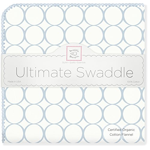 SwaddleDesigns Organic Ultimate Swaddle, X-Large Receiving Blanket, Made in USA Premium Cotton Flannel, Pastel Blue Mod Circles (Mom's Choice Award Winner)