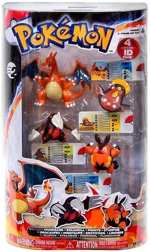Pokemon TOMY Basic Figure 4-Pack Charizard, Excadrill, Pignite & Stunfisk