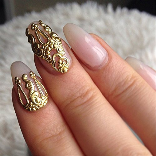 10Pcs Gold &Silver 3D Alloy Nail Art Decoration 3D Metal Nail Jewelry Nail Beauty Accessories Japanese Retro Manicure Charms Mix by random 10pcs -