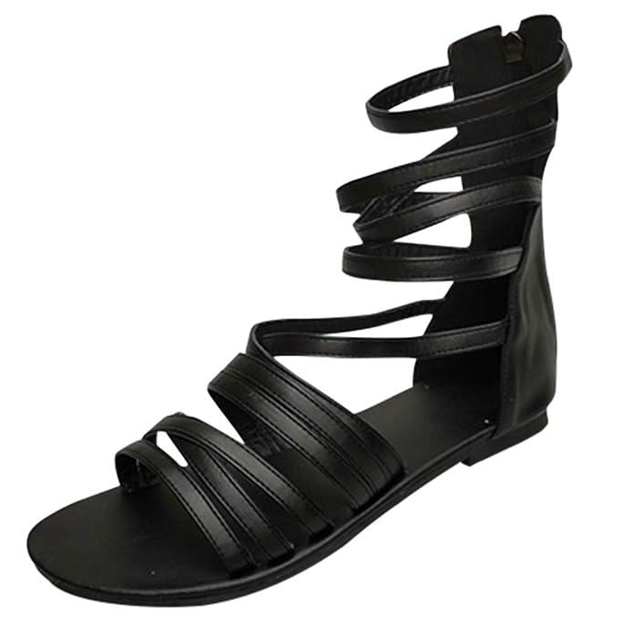 Mode Romain Sandales,Sandales Femmes Plates Tropeziennes,Yesmile Retro Mode Flats Bas-Talons Open Toe Fermeture /éClair Plage Chaussures
