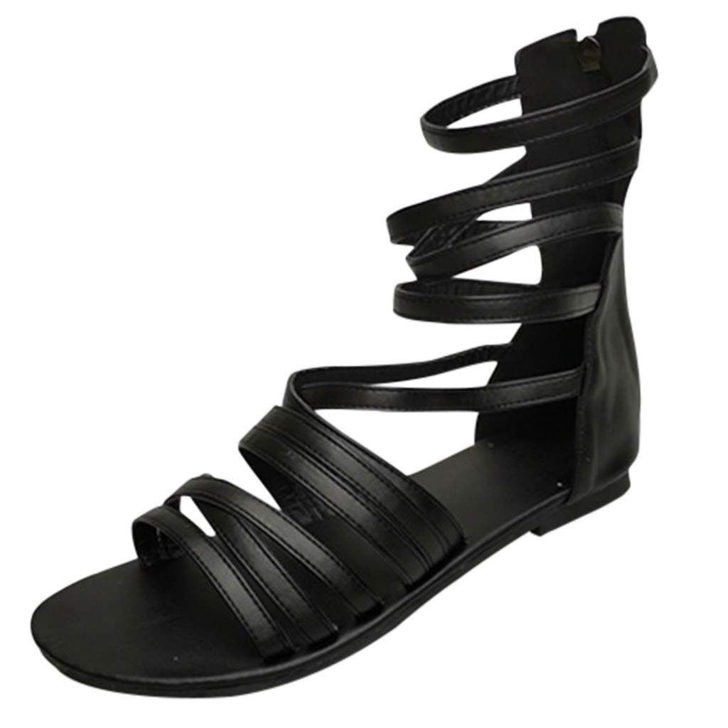 Nadition Retro Roman Sandals ❤️️ Womens Fashion Flats Low-Heeled Open Toe Zipper Sandals Summer Breathable Beach Sandals Black