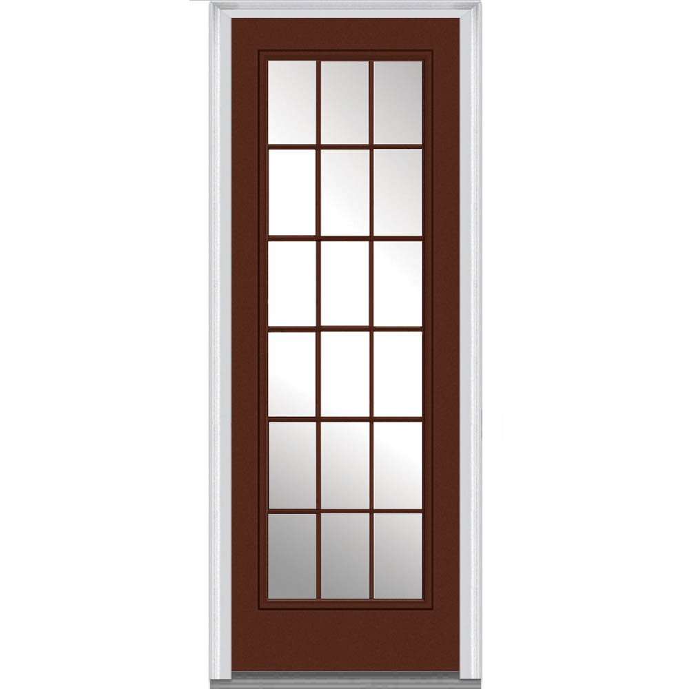 Amazon.com: National Door Company Z009733L Steel Brilliant White, Left Hand  In Swing, Prehung Front Door, 15 Lite External Grilles, Clear Glass, ...