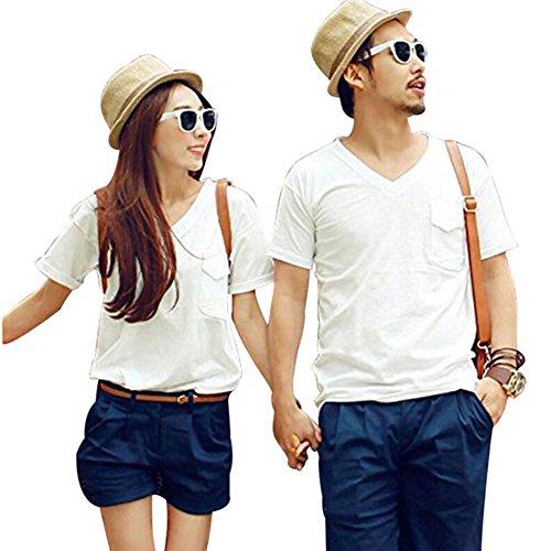 三角形近々倍増(JUTAOPIN) ペアルック カップル 夏 上下 セットペアルック カップル ペアルック パーカー ペア カップル カップル ペアルック お揃い 白 Tシャツ プレゼント tシャツ 紺 ネイビー パンツ