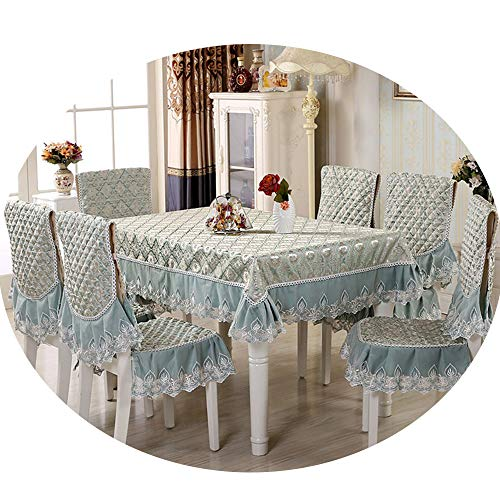 NDJqer 9Pcs/Set Home Table Cloth Set with Chair Cover Rectangular Tablecloth for Wedding Lace Table Cover Flower Cure Rate About 130X180Cm (8 Seater Dining Table And Chairs Ikea)
