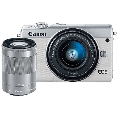 Canon EOS M100 Mirrorless Camera w/ 15-45mm Lens & 55-200mm Lens – Wi-Fi, Bluetooth, and NFC Enabled (White)