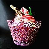 120pcs Classical Lace Cupcake Wrappers Laser Cut Wedding Decorations Wraps (Dark purple)
