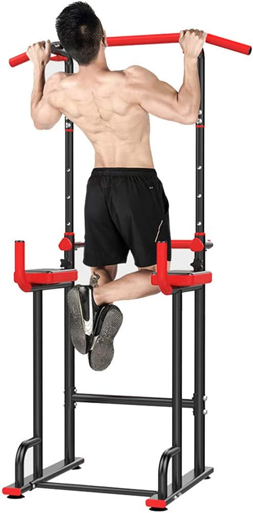 LLYWEY Power Tower Dip Station 64-88 Inch Adjustable, Black Pull Up Bar Exercise Heavy Duty Home Gym Power Multi-Function Dip Stand Pull up Chin Up Home Strength Training Tower