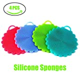 4-pack Silicone Sponges Kitchen AIEX Food-grade Antibacterial Silicone Sponge Non Stick Dishwashing Brush Dish Towel Scrubber for Kitchen Wash Pot Pan Dish Bowl To the Cup Pad Wash Fruit and Vegetab