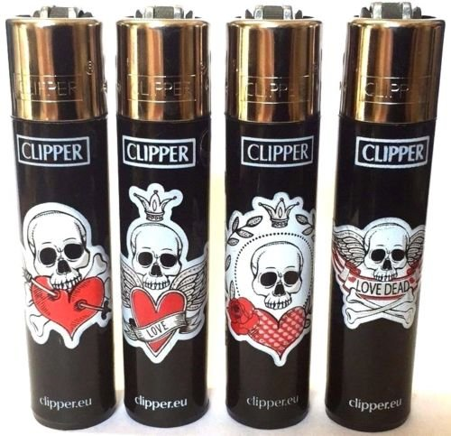 4 x Skull Design Clipper Lighters, Clipper Lighter, Gas Lighter