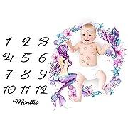 Baby Monthly Milestone Growing Blanket, Newborn Infants Photo Blanket, DIY Photography Background Props Backdrop, Best Kids Baby Shower Gift (Mermaid)