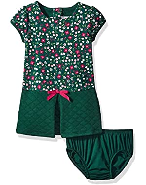 Baby Girls' Floral Pieced Quilted Dress