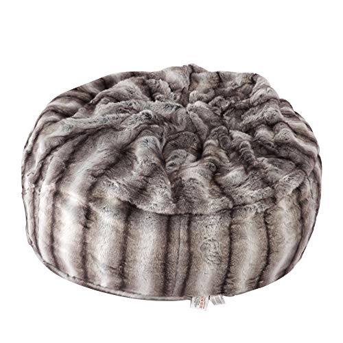 Faux Fur Bean Bag Chair Luxury and Comfy Big Beanless Bag Chairs Plush Furry Chair Soft Sofa Lounger for Adults and Kids,Sponge Filling, 3 ft, Grey Streak Print -