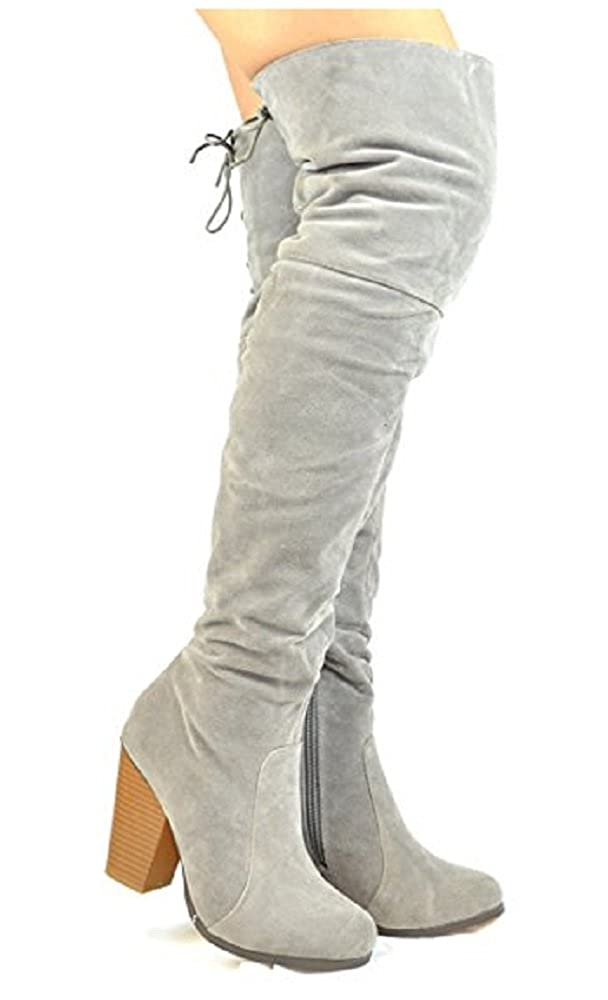 c5d7330a025 Chase & Chloe Max-2 Women's Over The Knee Thigh High Suede Chunky Heel Boot