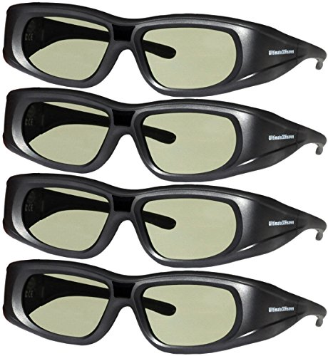 Active Shutter 3d Glasses (DLP LINK 144 Hz Ultra-Clear HD 4 PACK 3D Active Rechargeable Shutter Glasses for All 3D DLP Projectors - BenQ, Optoma, Dell, Mitsubishi, Samsung, Acer, Vivitek, NEC, Sharp, ViewSonic & Endless Others!)