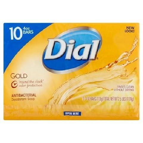 Dial Nutriskin Moisturizing Glycerin or Antibacterial or Deodorant Bar Soap 10 Ct Pack (Gold Antibacterial (Dial Bar Gold)