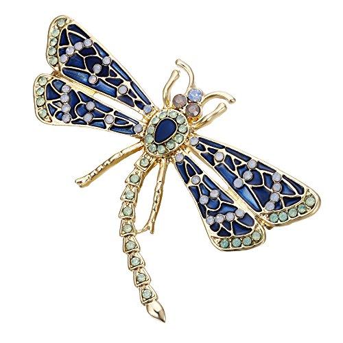 EVER FAITH Women's Austrian Crystal Enamel Cute Flying Dragonfly Insect Brooch Blue w/Green Gold-Tone ()