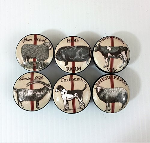 Set of 6 Country Farm Animal Cabinet Knobs (Set 2) -