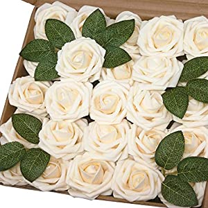 J-Rijzen Jing-Rise 50pcs Cream Roses Artificial Flowers with Stem Baby Shower Floral Decorations Bridal Shower Centerpieces DIY Wedding Bouquet Rose Kissing Ball Supplies(Cream) 59
