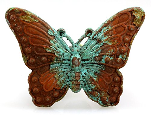 Butterfly Cabinet Knob - Charleston Knob Company EE-311 Antique Iron Knob, Set of 2, Butterfly Design