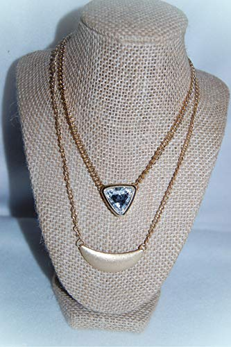 Costume Jewelry LOT OF 2 Necklace For Women Crescent Shaped Center TRIANGULAR CLEAR STONE