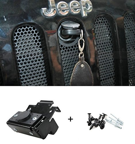 4 Door Hood - Opall Hood Lock Anti-Theft Kit Assembly For 2007-2016 Jeep Wrangler JK & Unlimited 2 Door 4 Door Anti-Theft Alarm System 82213051-AB