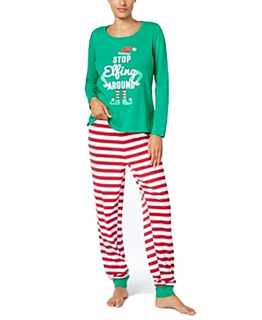 0d9db41c52 Greendog Family Pajamas Womens What The Elf Pajama S Candy Cane ...