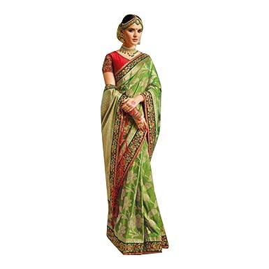 81f3daa4a3 Amazon.com: Bollywood Designer Banarasi Printed Silk Saree Sari Indian  Traditional Ethnic Festival 7146: Clothing