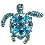Sindary Unique Animal 2.36'' Rhinestone Crystal Turtle Tortoise Brooch Pin Pendant BZ3344 (Gold-Tone Turquoise Green)