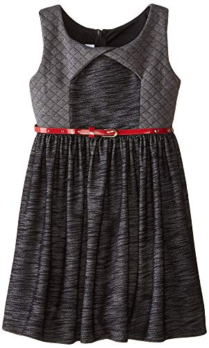 Bonnie Jean Little Girls' Chambray Dress with Quilted Trim, Black, 6