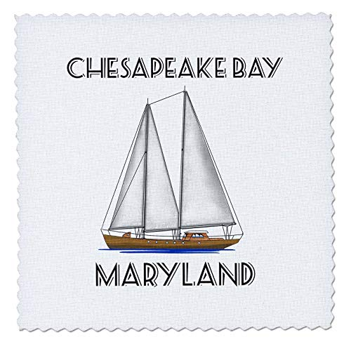 - 3dRose Macdonald Creative Studios - Nautical - A Sailboat Nautical Art for Sailing Chesapeake Bay, Maryland. - 6x6 inch Quilt Square (qs_295362_2)