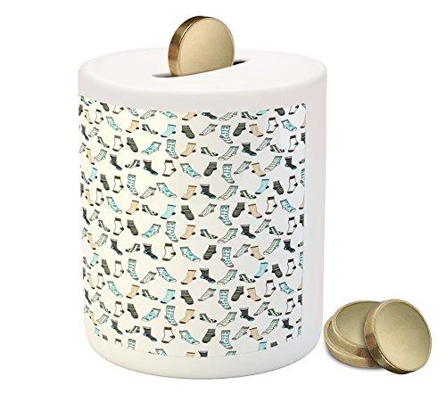 Ambesonne Cartoon Piggy Bank, Messy Teenager Kids Room Rain of Socks Laundry Themed Funny Art, Printed Ceramic Coin Bank Money Box for Cash Saving, Beige Dark Blue and Aqua Blue