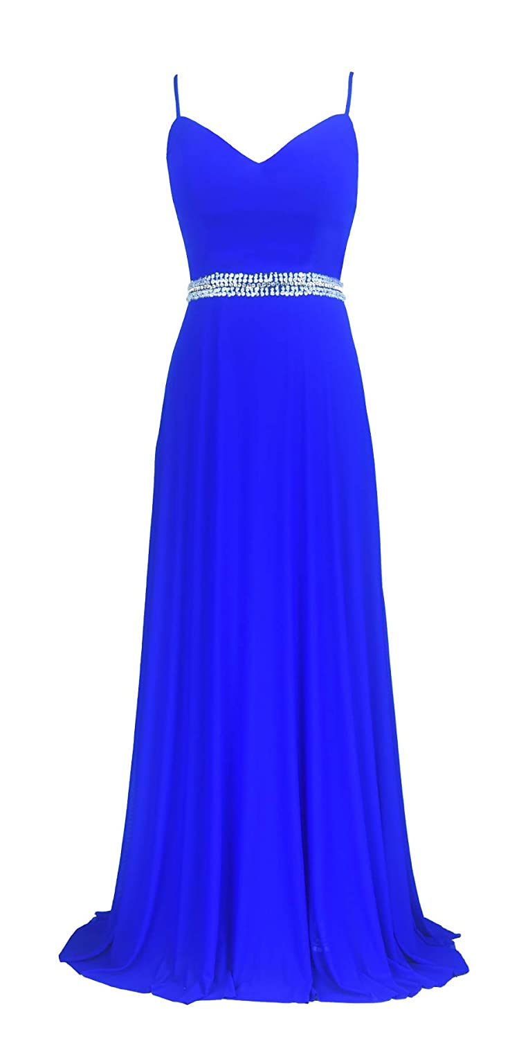 bluee conail Coco Women's VNeckline Spaghetti Straps Beaded CrissCross Open Back Tulle Evening Prom Formal Dress