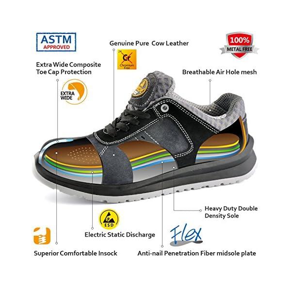 SAFETOE Men's Work Safety Shoes, Composite Toe Work Shoes Lightweight Breathable Work Safety Sneakers Slip Resistant for Industrial & Construction Work (Metal Free)