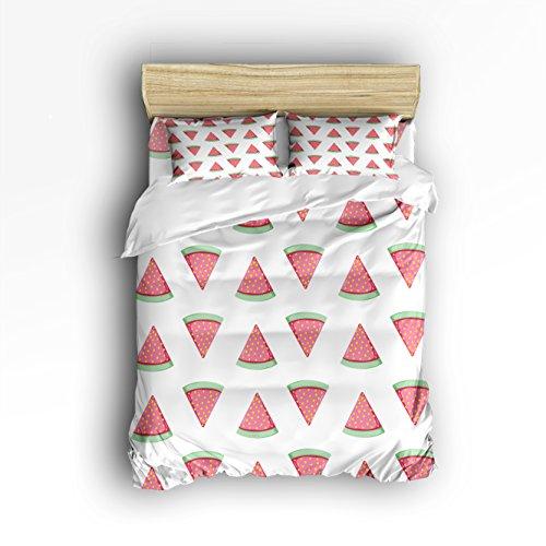 Libaoge 4 Piece Bed Sheets Set, Lovely Cartoon Watermelon Summer Print, 1 Flat Sheet 1 Duvet Cover and 2 Pillow Cases