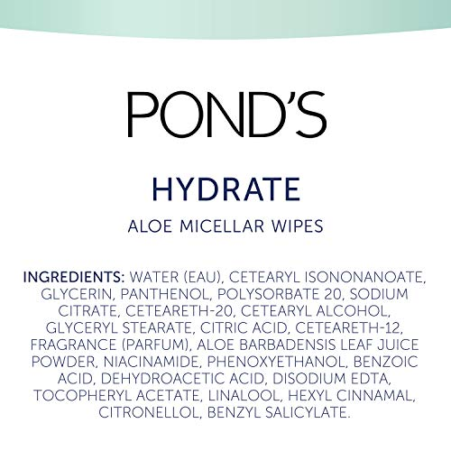 Pond's Vitamin Micellar Wipes for Dry Skin Hydrate Aloe Vera Removes Waterproof Makeup 25 Count 4 Pack