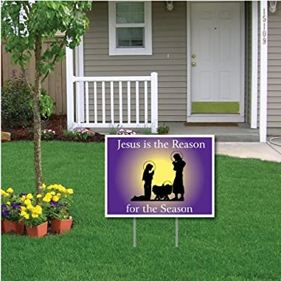VictoryStore Yard Sign Outdoor Lawn Decorations - Jesus is The Reason for The Season Christmas Lawn Display (Purple Manger)- 18''X24'' Yard Sign Decoration