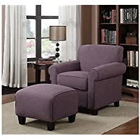 Portfolio Mira Amethyst Purple Linen Arm Chair and Ottoman