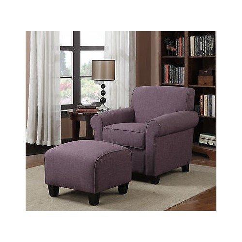 Portfolio Mira Amethyst Purple Linen Arm Chair and Ottoman