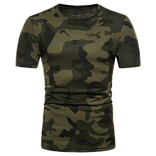 SSYUNO Men's Casual Cooling Camouflage Print O Neck Pullover Shirts Short Sleeve T-Shirt Military UniformTop Blouse (Cooling Glass For Mens Online)