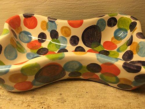 USA hand painted polka dot dog bone food or water bowl (Paw Prints Ceramic Bowl)